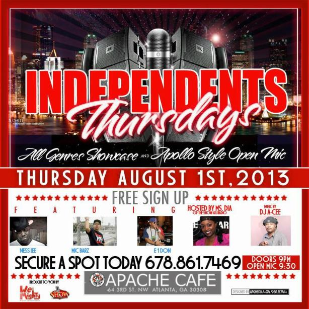 Independent Thursdays at The Apache Cafe in Atlanta,GA